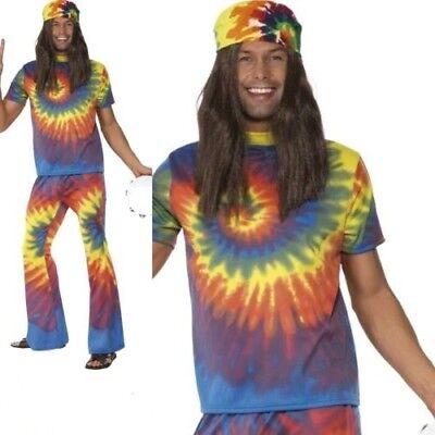 Herren 1960er Jahre Batik Hippie Hippy Verkleidung Kostüm Outfit 60 - Herren 1960 Kostüm