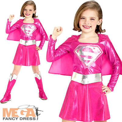 Pink Supergirl Girls Fancy Dress Superhero Superman Kids Costume Outfit 3-10 - Pink Superman Costume