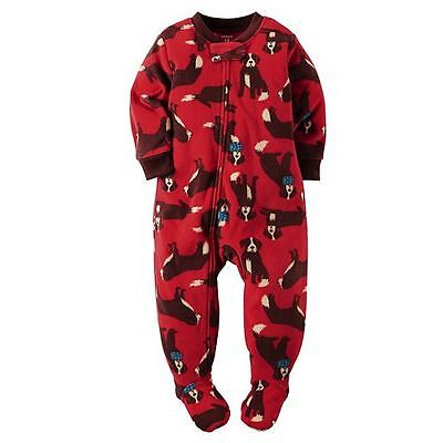 Carter's Schlafanzug USA Gr. 80 Fleece Hund Reißverschluß Junge Füße Strampler