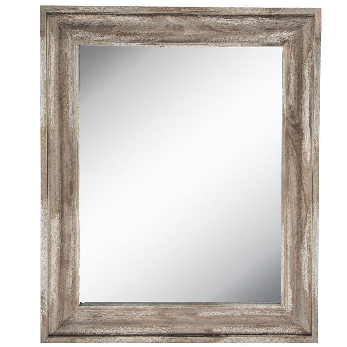 Wall Mirror Beveled Wood Framed in Driftwood-Brown with 2 D-