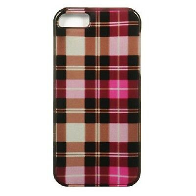 For iPhone 5 5S SE HARD Protector Case Snap On Phone Cover Hot Pink Checker