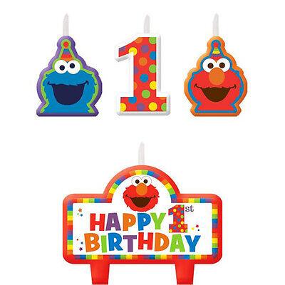 SESAME STREET Elmo Turns One MINI CANDLE SET (4) ~ Birthday Party Supplies - Sesame Street Candles