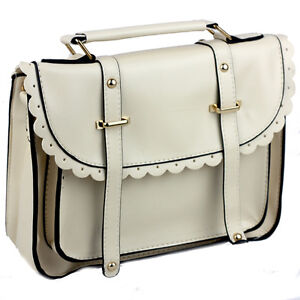 Women Classic Old School Satchel Bag Crossbody Shoulder 9 Plain Colours Vintage