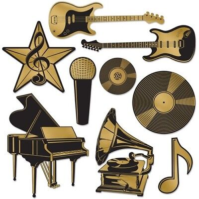 Gold Foil Music Instruments Award Cutout Set Musical Notes Party Decorations](Musical Note Cutouts)
