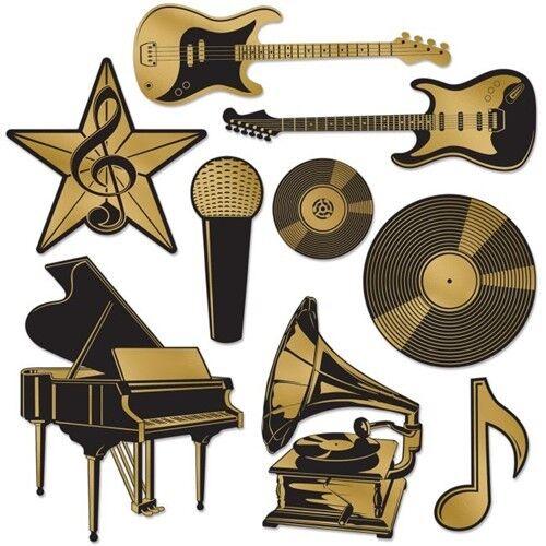 Details about Gold Foil Music Instruments Award Cutout Set Musical Notes  Party Decorations