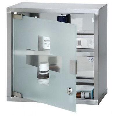 Armadietto Armadio Porta Medicinali Acciaio Inox Vetro Satinato 30 x 12 x 30 cm