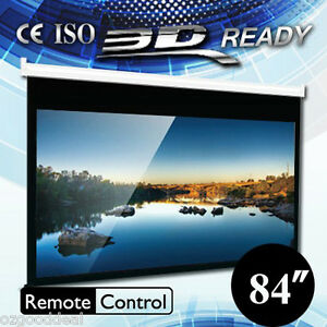 New-84-4-3-Electric-Motorised-Projector-Screen-Wall-Mount-HD-3D-Remote-Control
