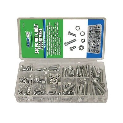 240pc GRIP SAE Nuts & Bolts Assortment Kit Washers Hex Machine Automotive 43163 Hex Bolt Kit