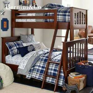 Wooden Timber Bunk Bed Frame Single over Double Espresso finish