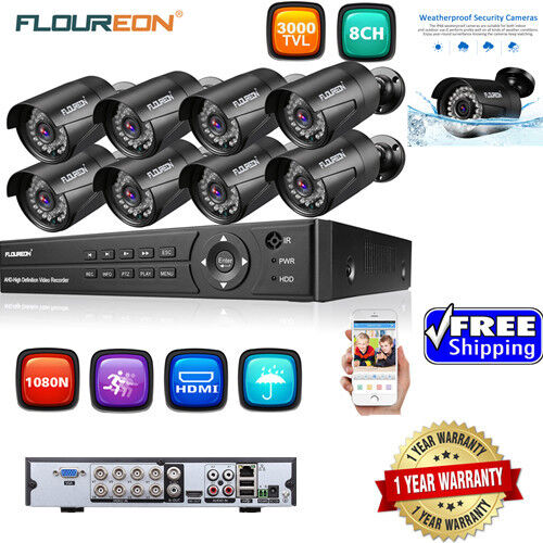 8CH 1080P AHD DVR+4/8XOutdoor 3000TVL 1080P 2MP Camera Secur
