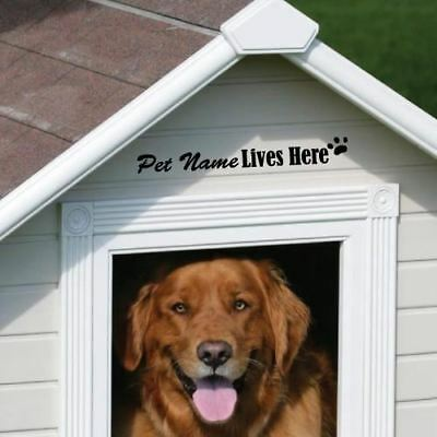 CUSTOM PET NAME LIVES HERE KENNELS DOG CAT STICKER