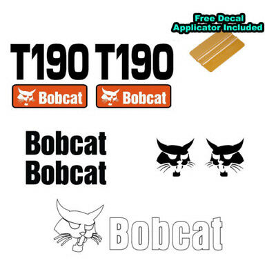Bobcat T190 Turbo Skid Steer Set Vinyl Decal Sticker 7 Pc Set Free Applicator