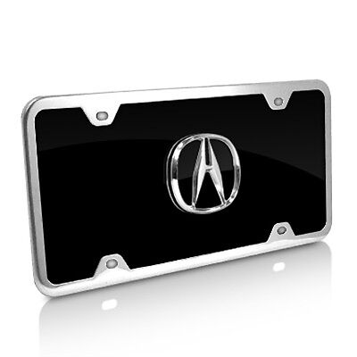 Black Acrylic License Plate (Acura Black Acrylic License Plate with Chrome Frame)