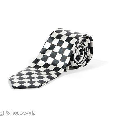 Weiß und Schwarz Kariert Klasse Skinny Krawatte Verkleidung Kostümparty (Schwarz Und Weiß Kostüm Party)