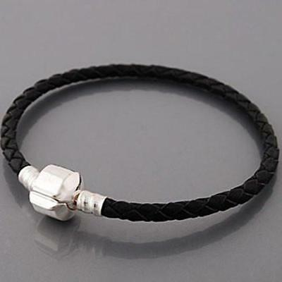 6.5″ Genuine Leather Black Bracelet fits European Charms Compatible Bracelets