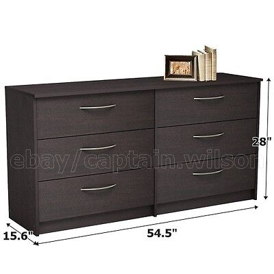 كومودينو جديد Bedroom Storage Dresser Chest Double 6 Drawer Modern Brown Espresso