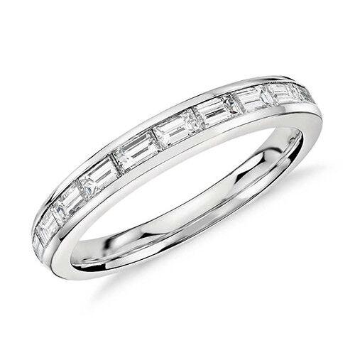 3.30 Ct Channel Set Baguette Cut Diamond Eternity Ring In 18k Gold