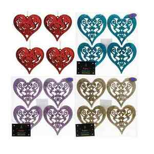 CHRISTMAS-GLITTER-FILIGREE-4-Pk-HEART-TREE-DECORATION-FESTIVE-BRAND-NEW