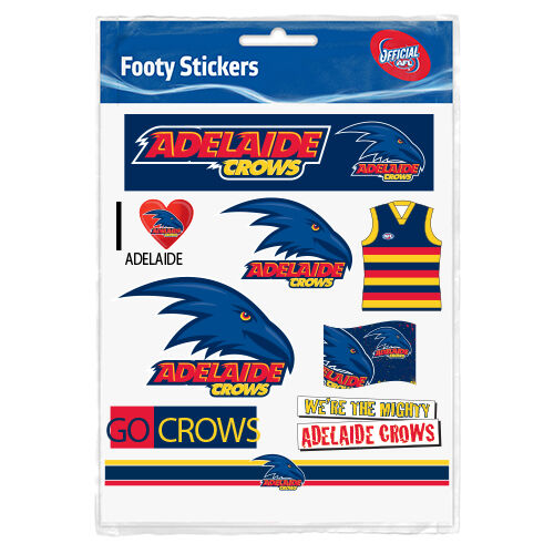 Official AFL Adelaide Crows Footy Stickers Sticker Sheet Pack