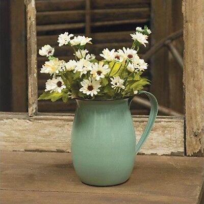 Green Enamel Vintage Style Pitcher Country Cottage Vase Pot