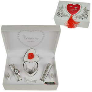 LADIES WATCH NECKLACE BRACELET EARRINGS GIFT SET PENDANT SILVER WOMENS GIRLS NE