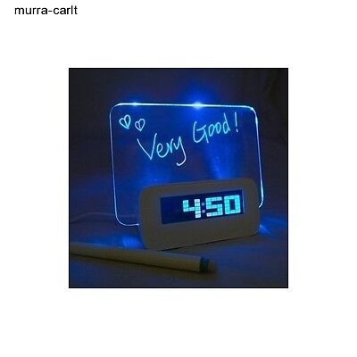 LED Message Board with Highlighter Digital Alarm Clock with 4 Port USB Hub