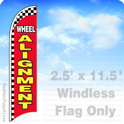 Wheel Alignment - Windless Swooper Feather Flag 2.5x11.5 Auto Repair Sign Rb