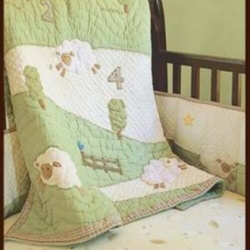 """Pottery Barn Toddler Chamois Lambie Lamb Quilt Blanket 36""""X50"""".Mint.Hard to find"""