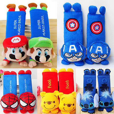 2Pcs Disney Cartoon Car Seat Safety Belt Cover/Baby Stroller/ Shoulder Pad