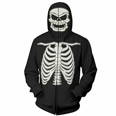 Glow in the Dark Skeleton Costume Hoodie Mens Full Zip