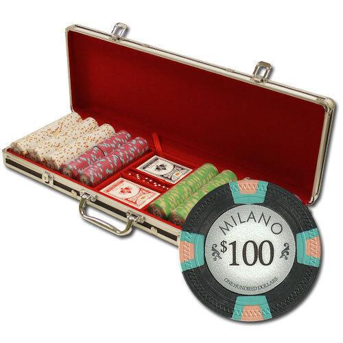NEW 500 Milano Pure Clay 10 Gram Poker Chips Set Black Aluminum Case Pick Chips