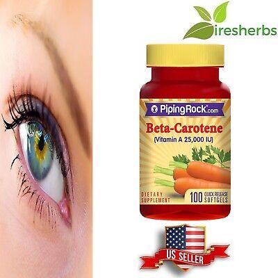25000 Iu Vitamin (VITAMIN A 25000 IU BETA-CAROTENE EYE SKIN IMMUNE SYSTEM SUPPLEMENT 100 SOFTGELS)