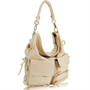 BRAND NEW - Cream Leather Pocketed Hobo Handbag