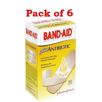 BAND-AID Plus Antibiotic Ointment Bandages, Assorted Sizes, 20 count (PACK OF 6)