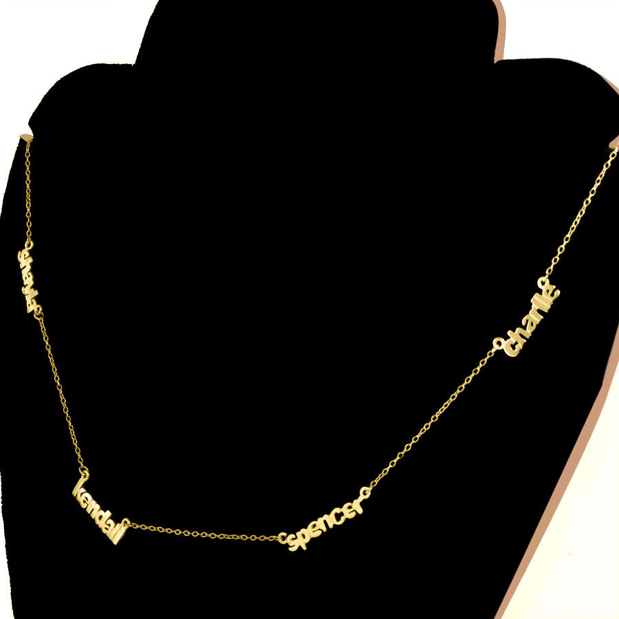 Personalized Sterling Silver and Gold Mini Name Plate Neckla