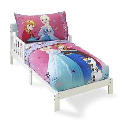 08Toddler Bedding Set 4 pc Pink Disney Frozen Girls Bed Sheets Kids Pillow Case