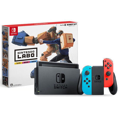 Nintendo Switch With Neon Blue   Neon Red Joy Con   Nintendo Labo Robot Kit