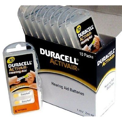 60 x Duracell Activair Size 10 Hearing aid batteries Zinc air 10 Packs of 6 ()