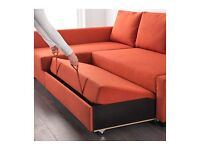 Ikea Corner sofa-bed with storage (FRIHETEN - dark orange)