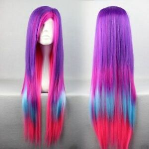 BRAND NEW: Vibrant Pink-Purple-Turquoise Straight Deluxe Wig