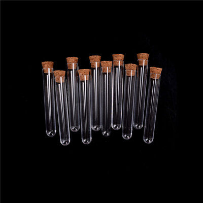 10pcslot Plastic Test Tube With Cork Vial Sample Container Bottle Hot