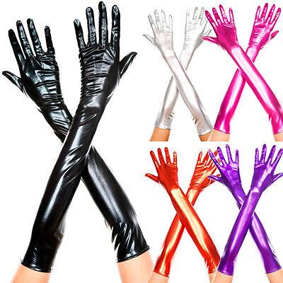 Shiny Metallic Wetlook Long Gloves Halloween Costume Burlesque Cosplay 7 Colors
