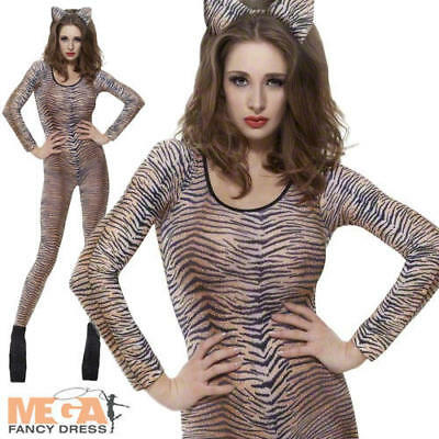Tiger Print Bodysuit Ladies Animal Catsuit Fancy Dress Costume Outfit UK 6-14 - Tiger Fancy Dress Costume