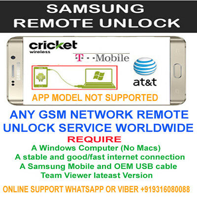 Att Xfinity Samsung S7, S7edge, S8, S8+, Note 8, 7 Remote Unlock Service via usb