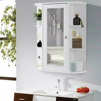 NEW Bathroom Wall Mounted Storage Cabinet Shelf Organizer With Mirror Door White