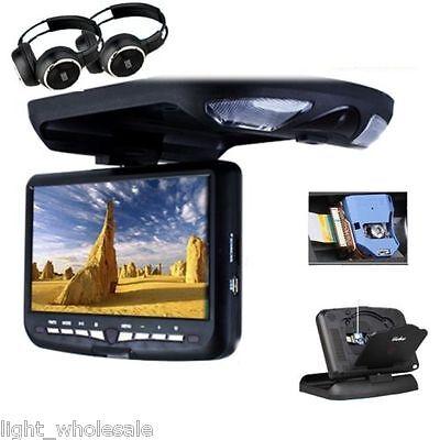 "9""Car Roof CD DVD USB SD Player Mount Flip Down Monitor Screen Display Black TV"