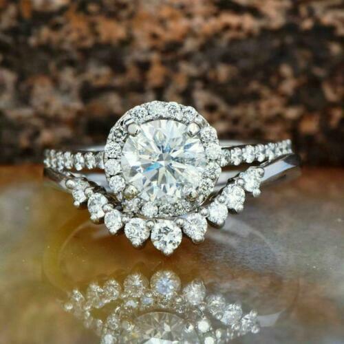 Antique 2.Ct Round Moissanite Wedding Engagement Ring Set 14