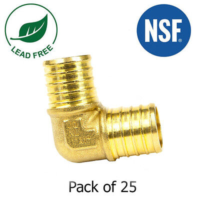 1 X 1 Pex Elbows Fitting Brass Crimp Fittings Lead-free Nsf 25 Pieces
