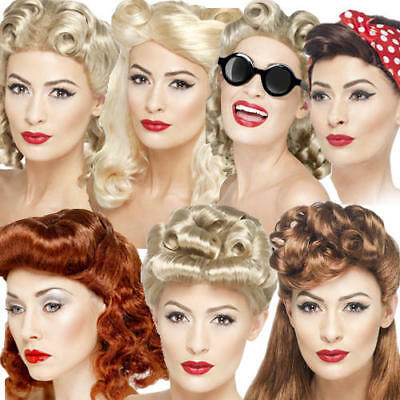 1940s Pin Up Wigs Ladies Fancy Dress WW2 40s Wartime Womens Costume (1940 Fancy Dress Kostüme)