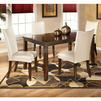 Signature Design Charrell Med Brw Rect Dining Table Ivroy Chairs